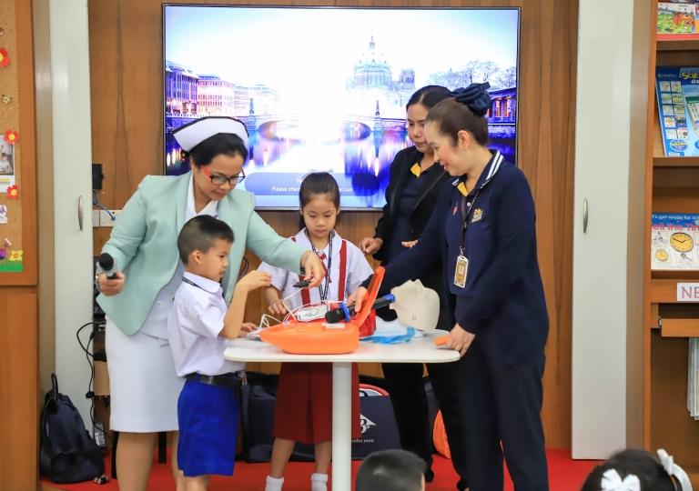 November 4, 2019 Morning Assembly P1-P3 First Aid Presentation Sikarin Hospital