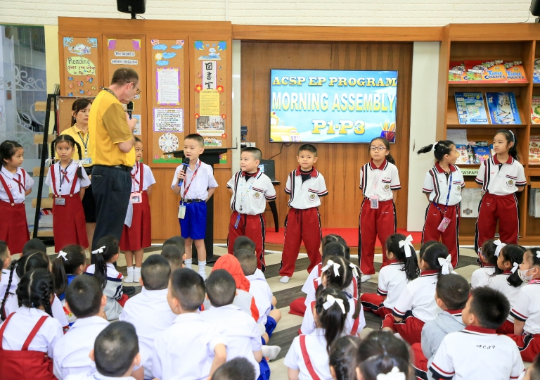 September 9, 2019 Morning Assembly Spelling bee competition P1-P3